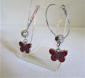 Hoop Earrings - Red Purple Butterfly