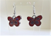 Butterfly Earrings - Red and Purple