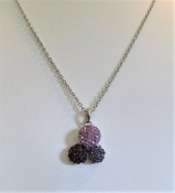 Necklace - Purple Crystal Balls on Chain