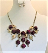 Necklace - Earrings Set - Purple & Gold Accessory