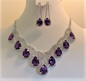 Necklace Earrings - Purple Crystal Tear Drop Design - Glitz