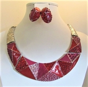 Necklace - Earrings - Hammered Silver & Red Enamel-Crystal Glitz