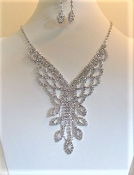 Elegant Rhinestone Drop Necklace - Earrings