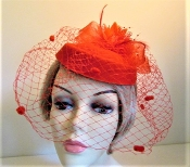 Red Mini Hat Fascinator - Fitted Cap Flower Feather Fascinator