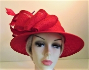 Red Hat - Flirtatious Feathers Fedora Ladies Red Hat