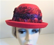 Red Hat - Feather Flattering Fedora for Red Hat Ladies