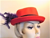 Red Hat - Fluffy Feathered Fedora Hat - Red Hat Lady Hat