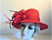 Red Hat - Saucy Scarlet Lampshade Style Red Hat - Red Hat Lady