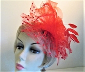 Red Fascinator - Red Flowers, Feathers, Beads - Red Hat Ladies