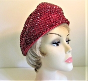Red Beret - Trendy Rhinestone Glitzy Beret Style Red Hat