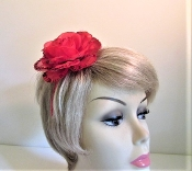 Red Head Band With Red Sequin Flower - Red Hatters