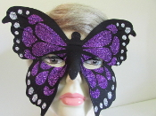 Butterfly Mask - Purple Glitter - Red Hat Ladies Mask