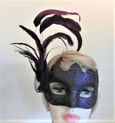 Purple Feather Mask - Black Glitter Design - Red Hat Ladies