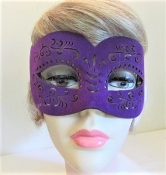 Mask - Purple Suede - Red Hat Ladies Mask