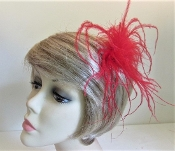 Feather Hair Clip - Red Ostrich - Marabou Feathers - Red Hatters