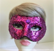 Mask - Purple Sequin & Bead - Red Hat Ladies Colors