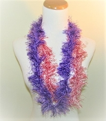 6 Purple-Red Thread Leis Variegated Lurex - Red Hat Party Favor
