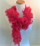 Mini Boa - Red Chandelle Feather & Lurex - Red Hatters