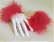 Feather Cuffs - Fluffy Purple Marabou Elastic - Red Hat Ladies