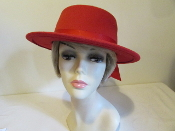 Basic Boater Red Hat - Felt Red Hat