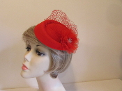 Red Felt - Flattering Fascinator - Red Hat Ladies
