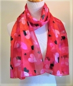 Red Hearts Scarf - Red Hat Lady Accessory