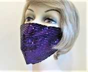 Face Mask - Purple Sequin - Red Hat Lady Accessory