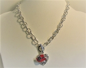 Red Hat - Crystal Heart - Silver Toggle Chain Necklace