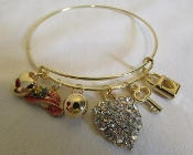 Red Hat - Crystal Heart - Gold Wire Bangle Bracelet (Exclusive)