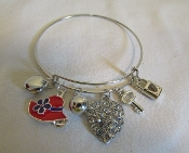 Red Hat-Crystal Heart - Silver Wire Bangle Bracelet (Exclusive)