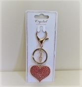 Red Crystal Heart - Gold Key Ring - Red Hatters