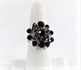 Purple Round Glitz Crystal Ring - Red Hat Society Lady